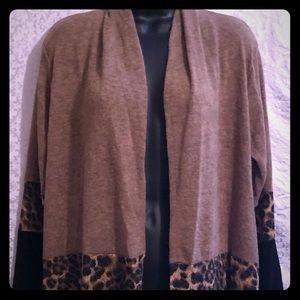 NWT color block leopard print cardigan duster